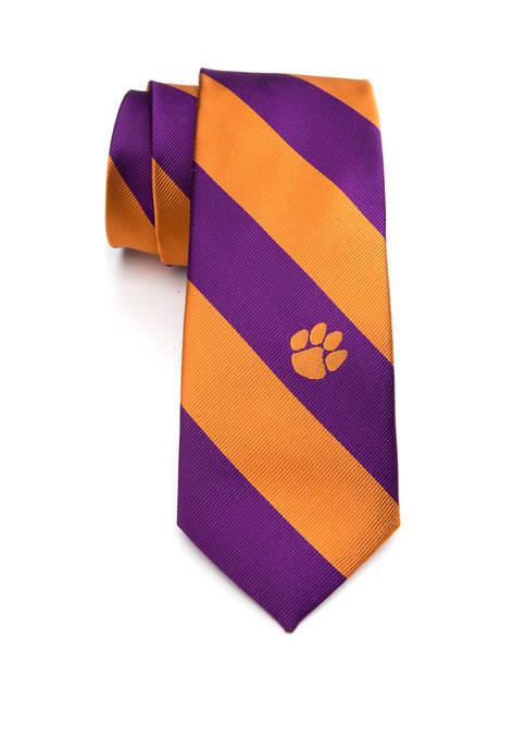 NCAA Clemson Tigers Logo Bar Stripe Tie