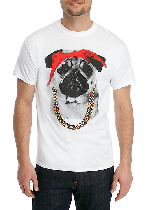 Philcos Pug Bandana and Chain Graphic T Shirt