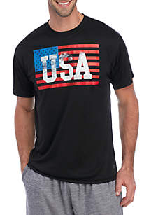 ZELOS Short Sleeve USA Flag Graphic T Shirt