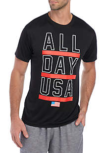 ZELOS Short Sleeve National Sport Graphic T Shirt