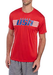 ZELOS Short Sleeve USA Stripe Graphic T Shirt