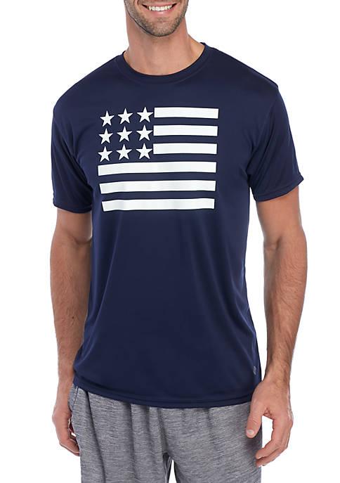 Short Sleeve Flag Graphic T Shirt