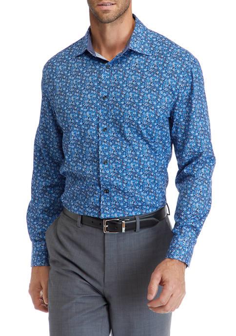 Slim Performance Blue Multi Floral Button Down Shirt