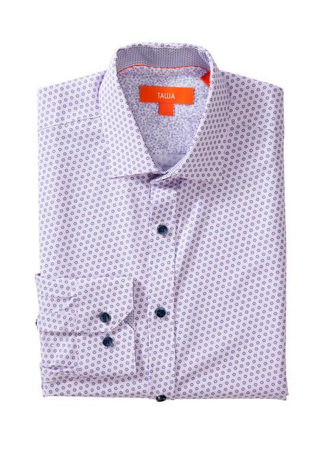 Mens Long Sleeve Slim Performance Floral Wheel Button Down Shirt