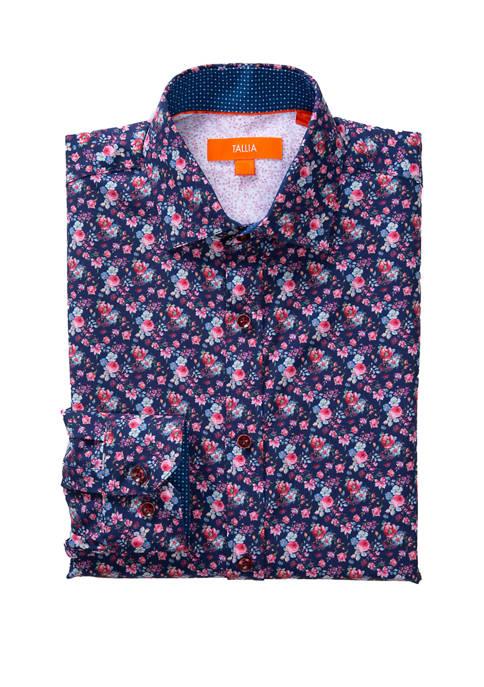 Mens Long Sleeve Slim Performance Floral Shirt