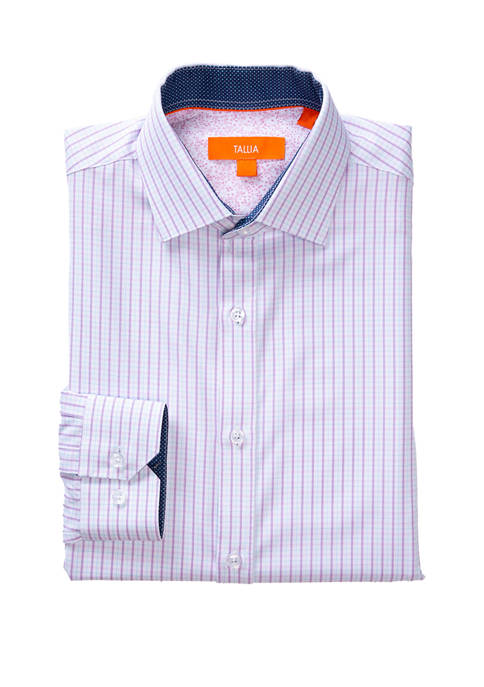 Mens Long Sleeve Slim Performance Purple Blue Check Dress Shirt