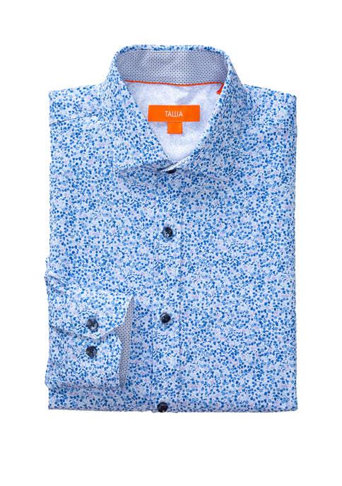 Mens Long Sleeve Slim Performance Blue Floral Dress Shirt