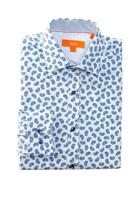 Mens Long Sleeve Slim Fit Performance Blue Motif Dress Shirt