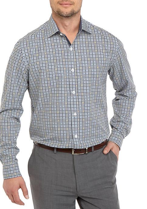 Mens Long Sleeve Slim Houndstooth Performance Dress Shirt