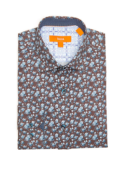 Mens Slim Fit Performance Printed Dress Shirt