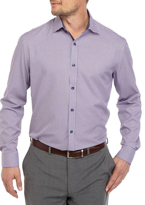 Mens Long Sleeve Slim Gingham Performance Dress Shirt