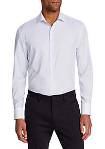Tallia Orange Long Sleeve Slim Floral Performance Button Up Shirt