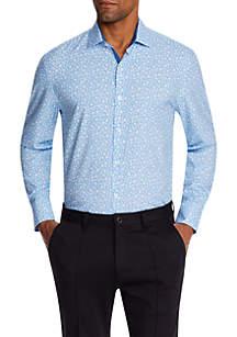 Tallia Orange Long Sleeve Slim Micro Floral Performance Button Up Shirt