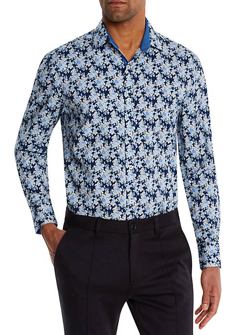 Long Sleeve Slim Floral Performance Button Up Shirt