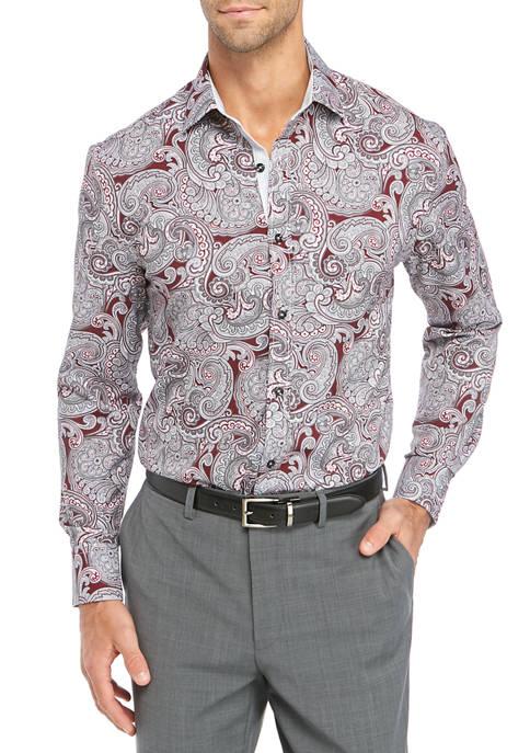 Mens Long Sleeve Slim Performance Burgundy Paisley Shirt