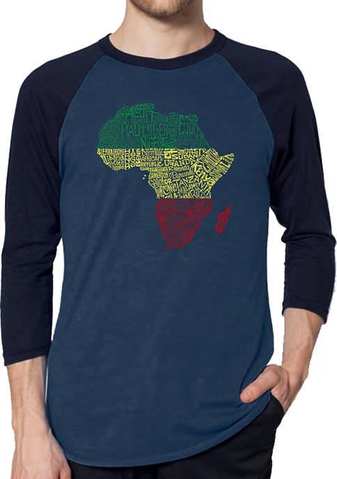 Raglan Baseball Word Art T-Shirt - Countries in Africa