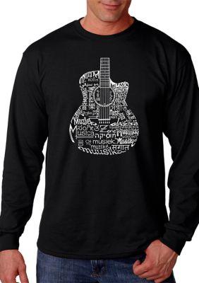 La Pop Art Mens Word Art Long Sleeve T-Shirt - Languages Guitar