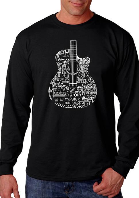 Word Art Long Sleeve T-Shirt - Languages Guitar