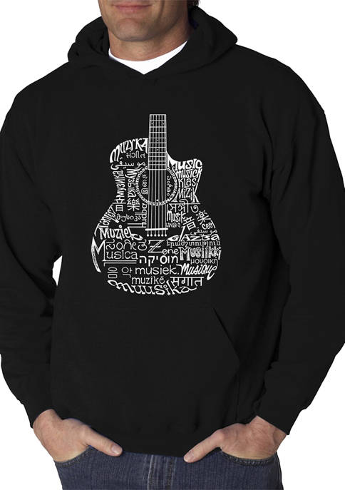 Word Art Hooded Sweatshirt - Languages Guitar
