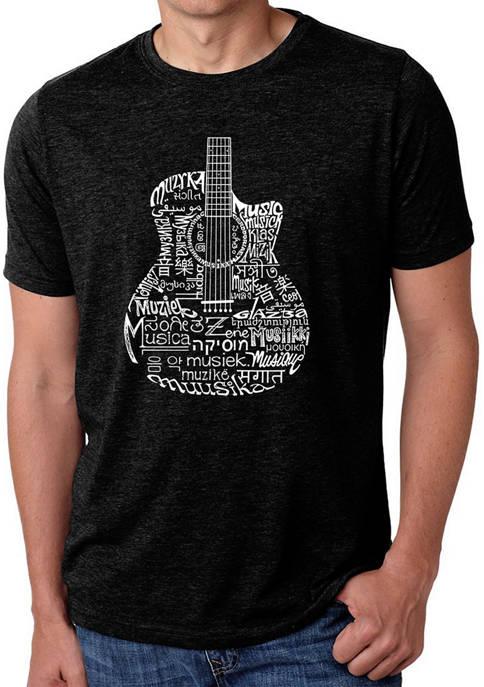 Premium Blend Word Art T-Shirt - Languages Guitar