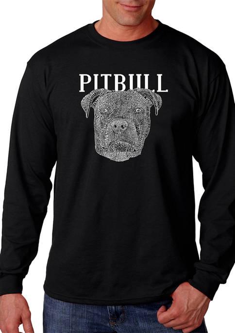 Word Art Long Sleeve T-Shirt - Pitbull Face