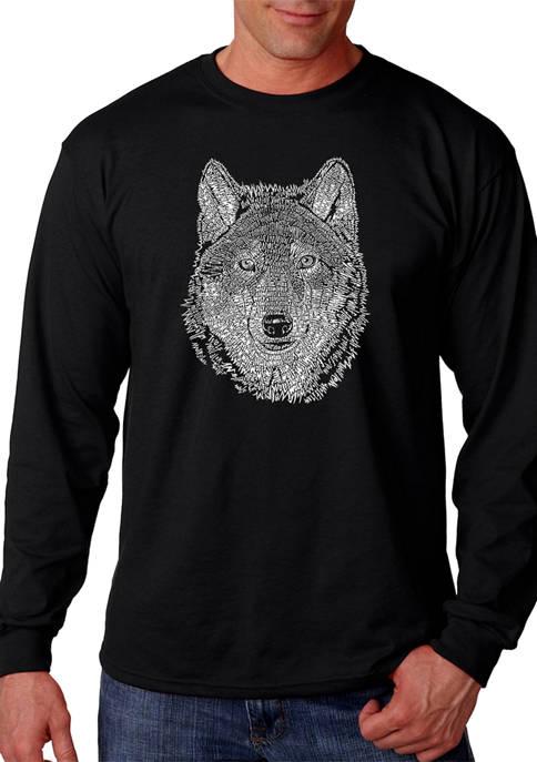 Word Art Long Sleeve T-Shirt - Wolf