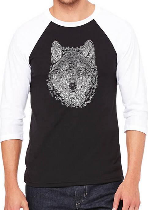 Raglan Baseball Word Art T-Shirt - Wolf