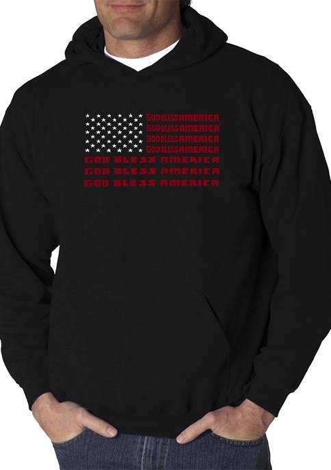 Word Art Hooded Graphic Sweatshirt - God Bless America