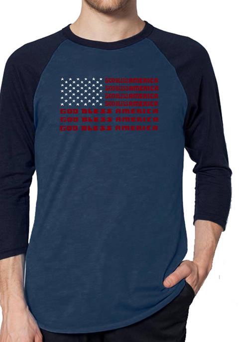 Raglan Baseball Word Art Graphic T-Shirt - God Bless America