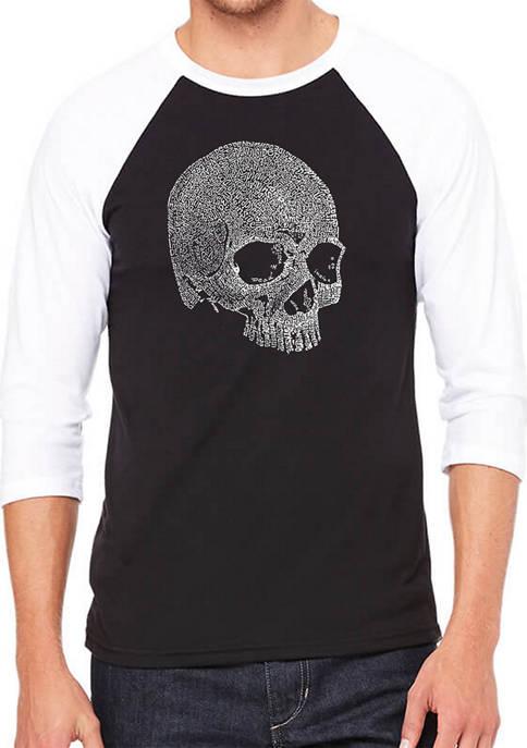 Raglan Baseball Word Art Graphic T-Shirt - Dead Inside Skull
