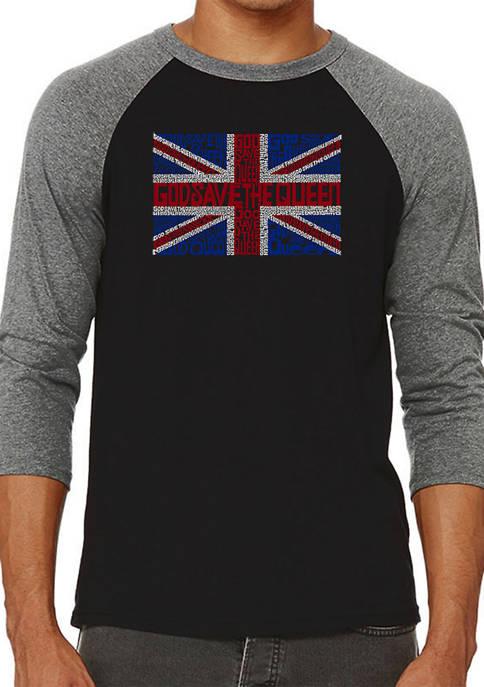 Raglan Baseball Word Art T-Shirt - God Save The Queen