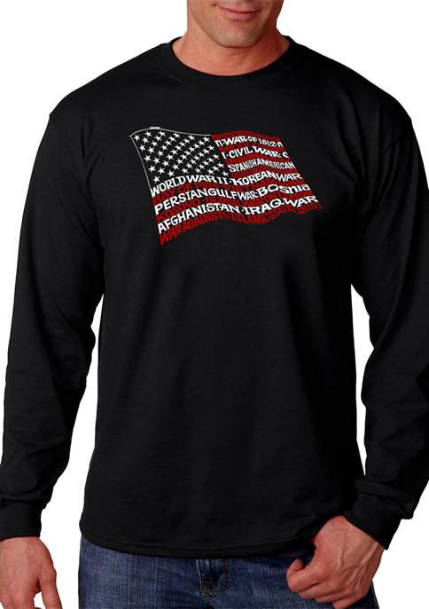 Word Art Long Sleeve T-Shirt - American Wars Tribute Flag