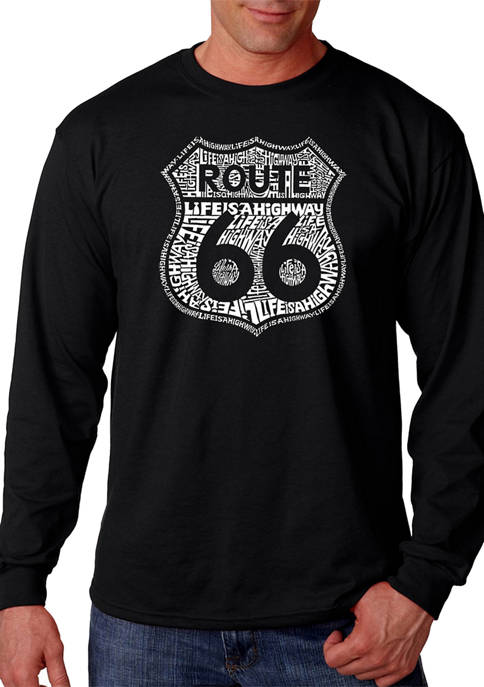 Word Art Long Sleeve T-Shirt - Route 66 - Life is a Highway