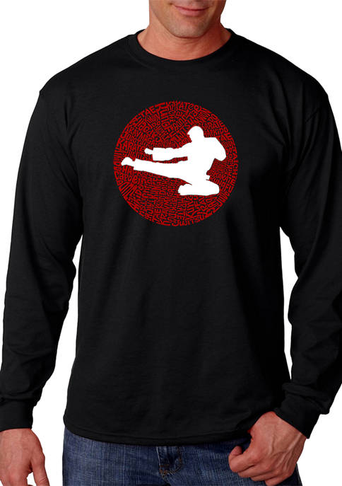 Word Art Long Sleeve T-Shirt -Types of Martial Arts