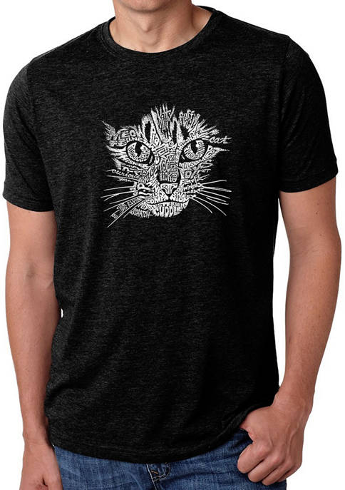 Mens Premium Blend Word Art Graphic T-Shirt - Cat Face