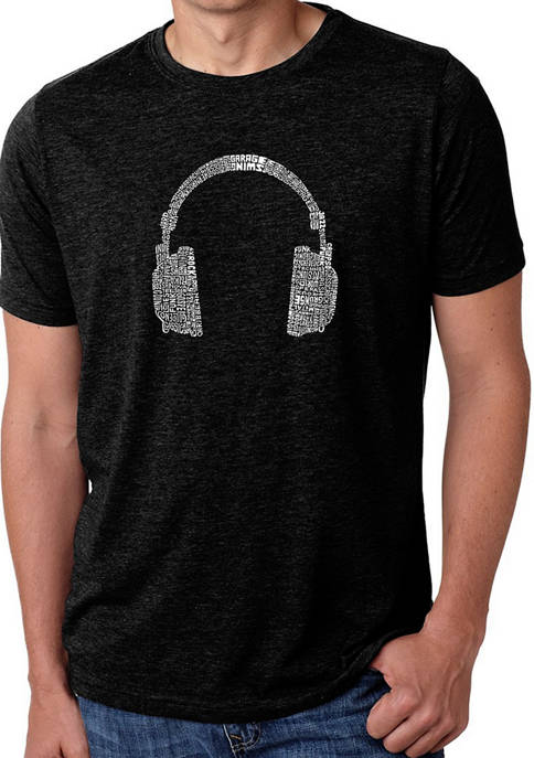 Mens Premium Blend Word Art Graphic T-Shirt - 63 Different Genres Of Music