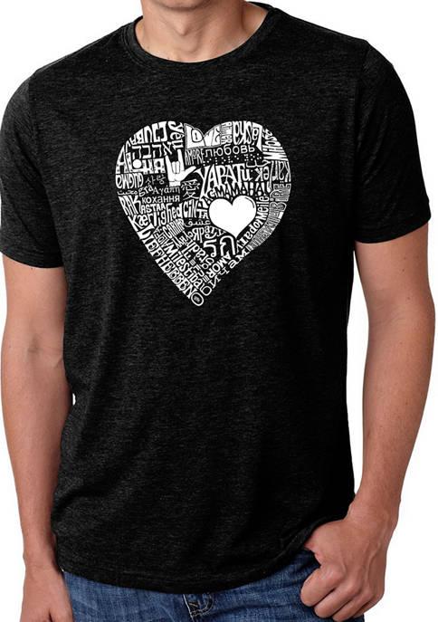 Mens Premium Blend Word Art Graphic T-Shirt - Love In 44 Different Languages