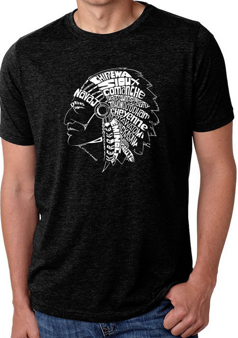Mens Premium Blend Word Art Graphic T-Shirt - Popular Native American Indian Tribes