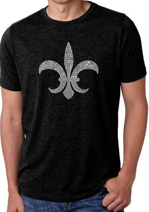 Premium Blend Word Art Graphic T-Shirt - Fleur de Lis - Popular Louisiana Cities