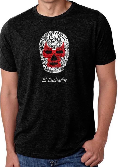 Mens Premium Blend Word Art Graphic T-Shirt - Mexican Wrestling Mask