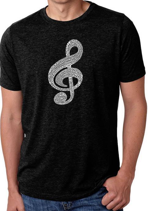Mens Premium Blend Word Art Graphic T-Shirt - Music Note
