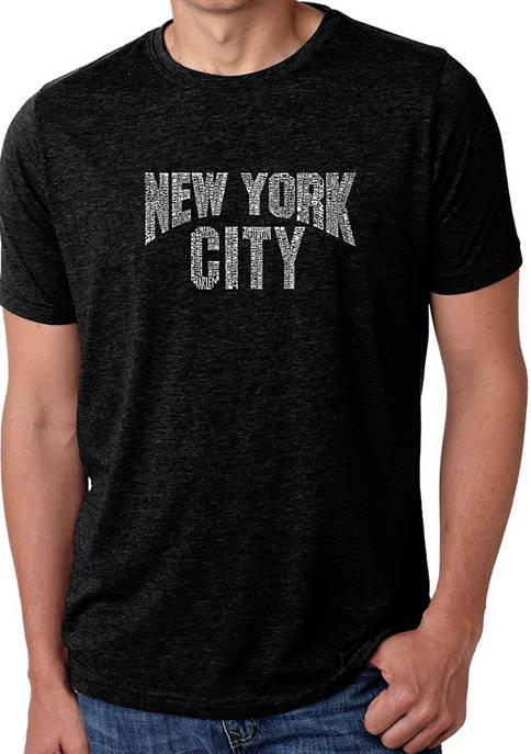 Mens Premium Blend Word Art Graphic T-Shirt - NYC Neighborhoods