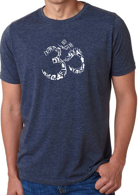 Mens Premium Blend Word Art Graphic T-Shirt - The Om Symbol Out Of Yoga Poses