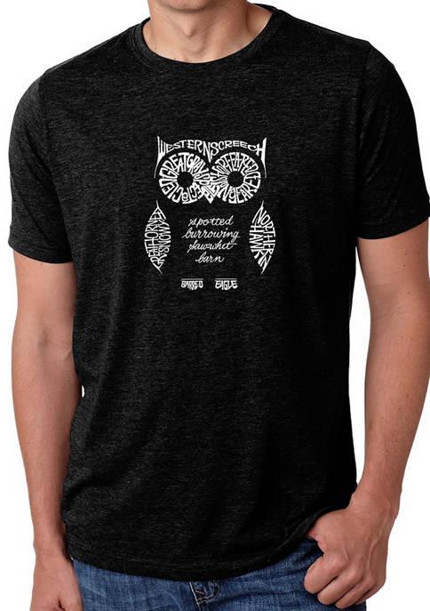 Premium Blend Word Art Graphic T-Shirt - Owl