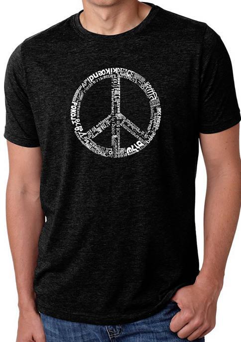 Mens Premium Blend Word Art Graphic T-Shirt - Peace in 77 Languages