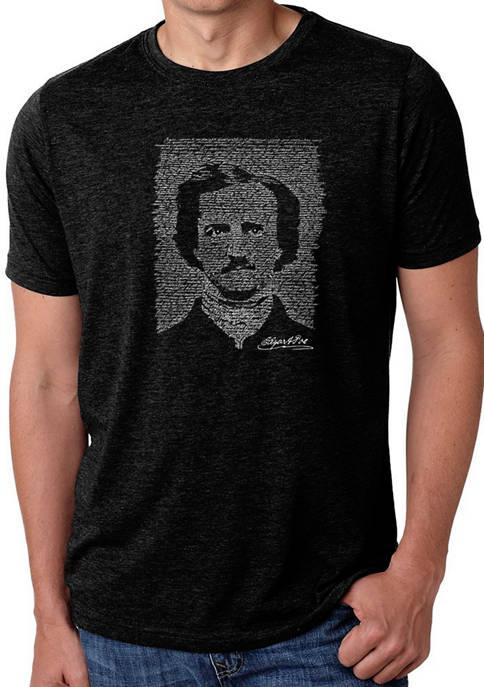 Mens Premium Blend Word Art Graphic T-Shirt - Edgar Allan Poe - The Raven