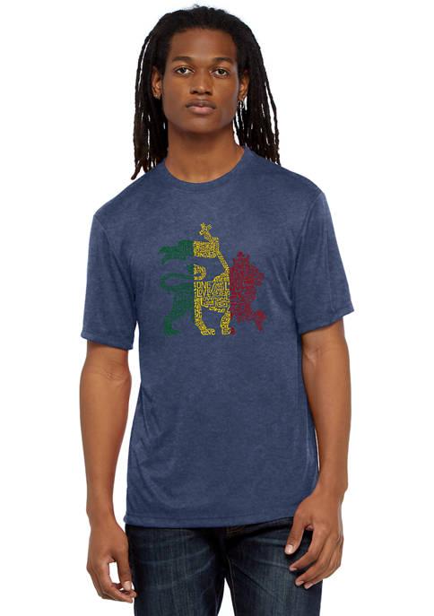 Mens Premium Blend Word Art Graphic T-Shirt - Rasta Lion - One Love