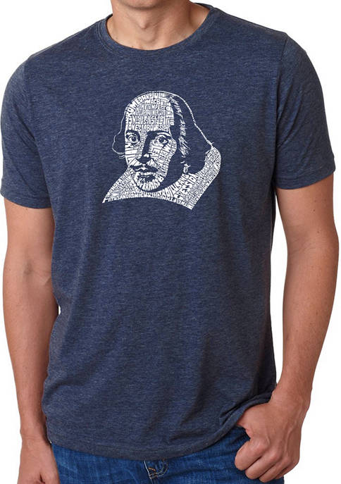 Mens Premium Blend Word Art Graphic T-Shirt - The Titles of All of William Shakespeares Comedies and Tragedies.