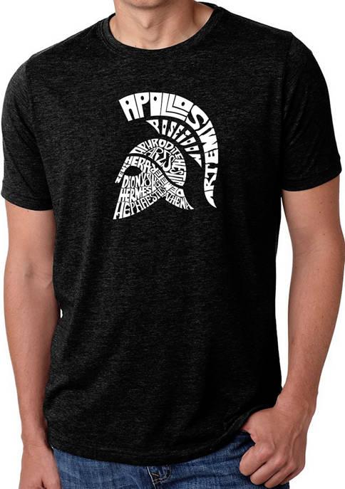 Mens Premium Blend Word Art Graphic T-Shirt - Spartan
