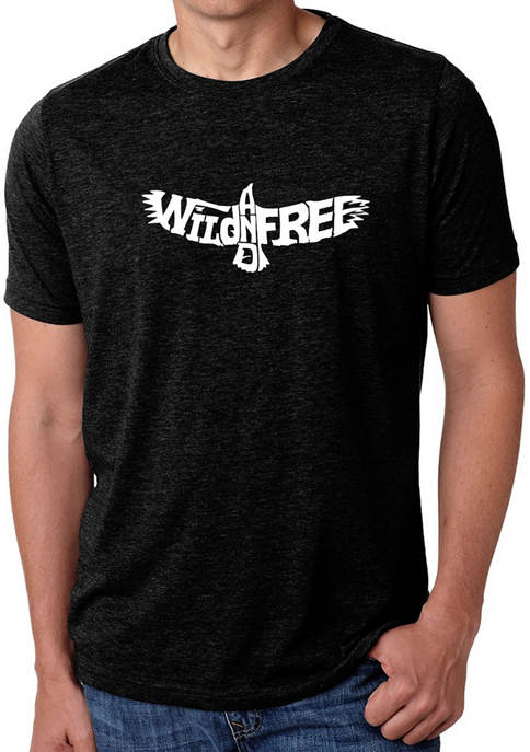 Mens Premium Blend Word Art Graphic T-Shirt - Wild and Free Eagle